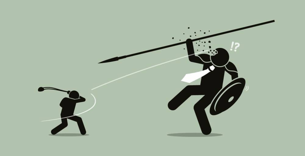 Le commerce physique contre l'e-commerce : c'est Goliath contre un David sur un tank